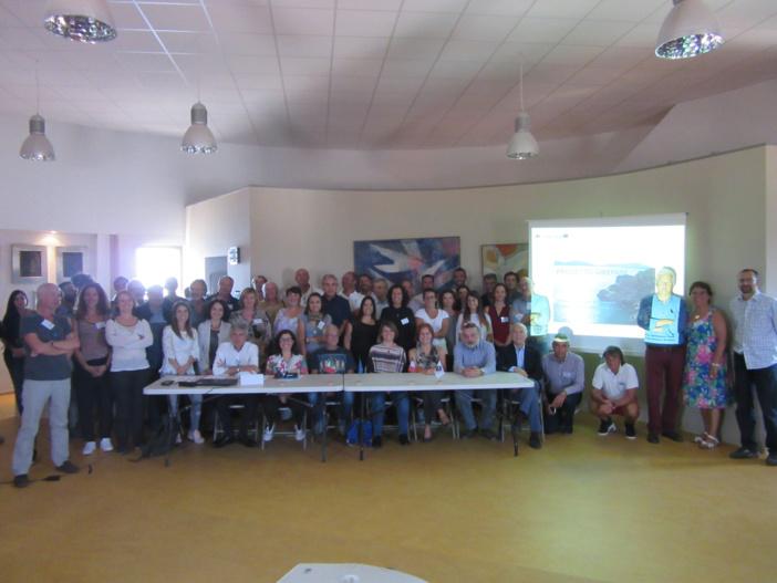 L'ensemble des participants au projet Girepam réunis dans la salle du Torrione de Bunifaziu