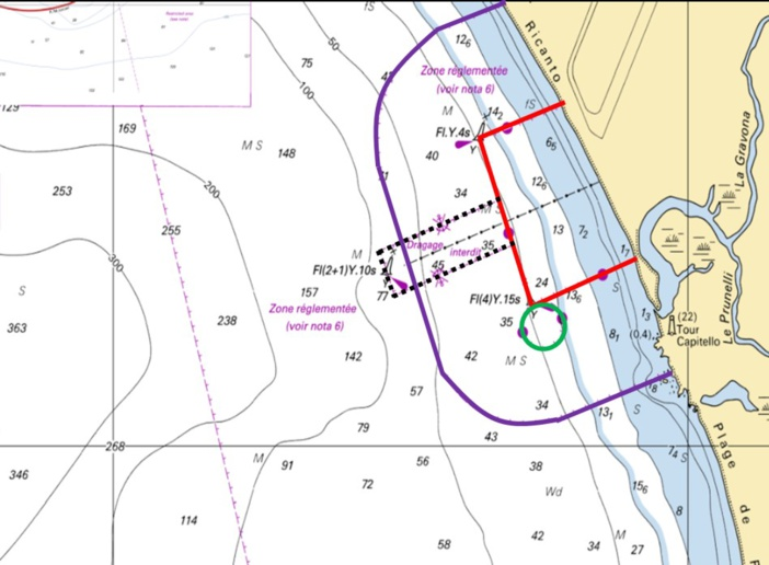 Informations sur la réglementation liée aux récifs artificiels du Ricantu, à Ajaccio