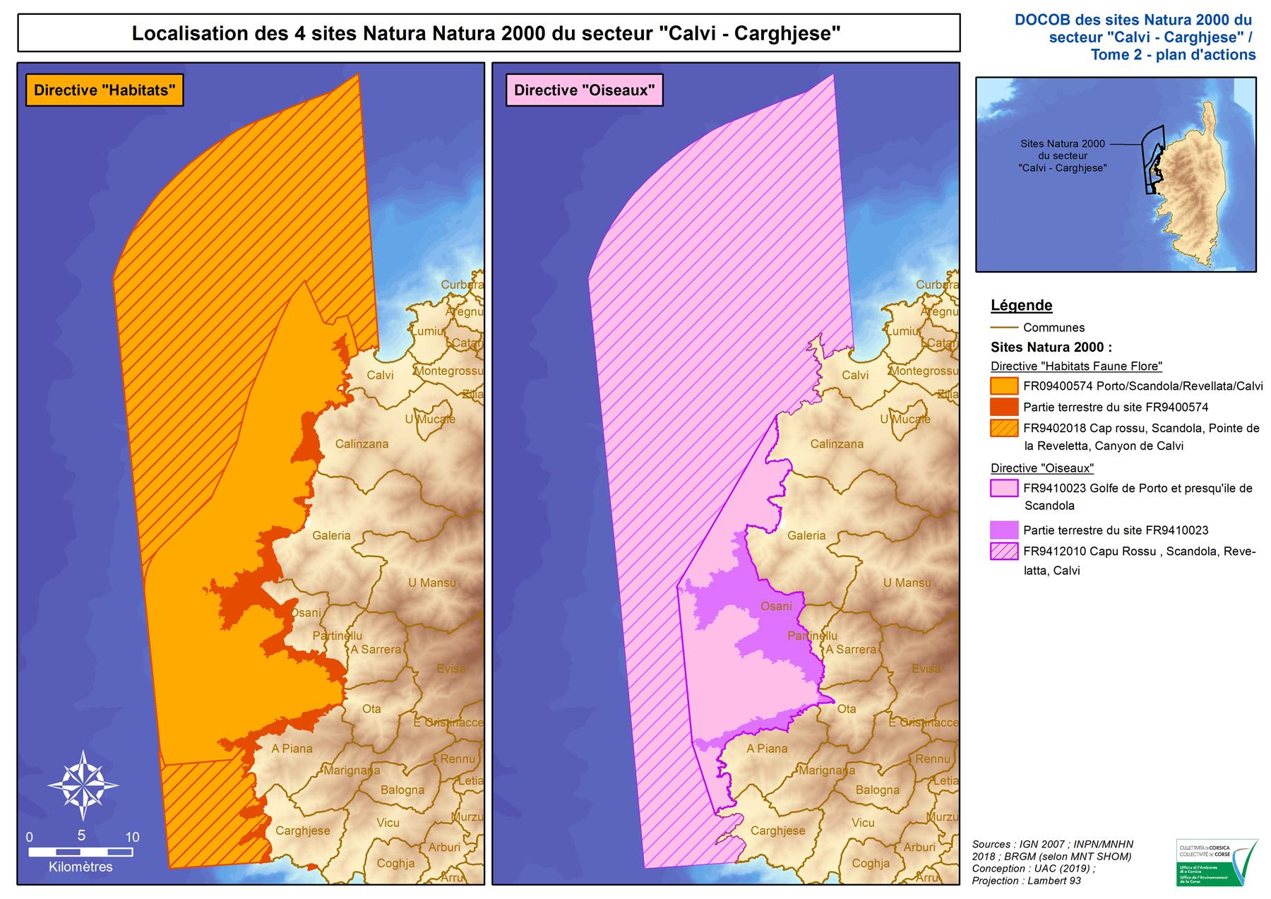 Localisation des 4 sites Natura 2000 du secteur « Calvi - Carghjese (UAC, 2019)