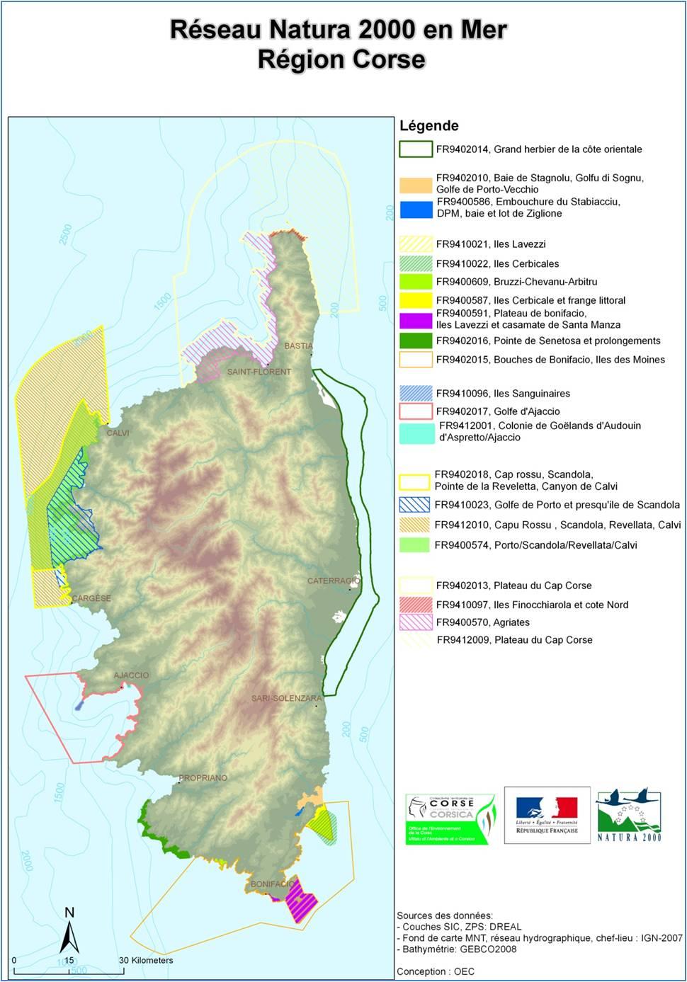 Carte des sites, établis par les directives « Habitats » et « Oiseaux », du réseau Natura 2000 en mer en Corse
