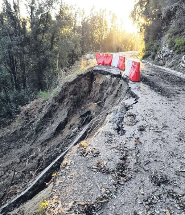 Tolla-Bastelica : route coupée