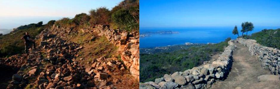Crédit photos OEC – Sentier du patrimoine de LUMIO (avant/après)