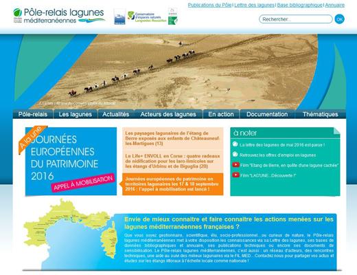 Aperçu du site web du pôle lagunes
