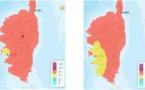 La Corse en rouge, avec un seuil d'alerte pour la pollution atmosphérique en provenance du Sahara.
